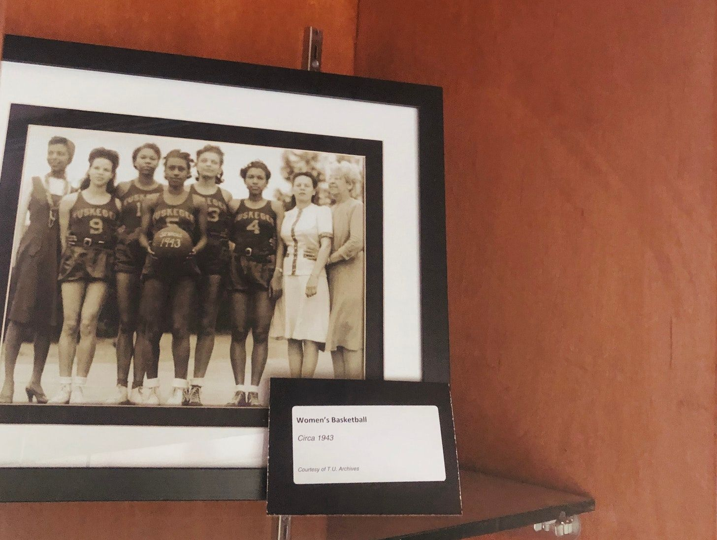A photo of Tuskegee women's basketball team from 1943.